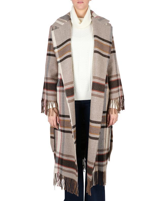 Offener Mantel aus Wolle mit Fransen und Gürtel ETRO