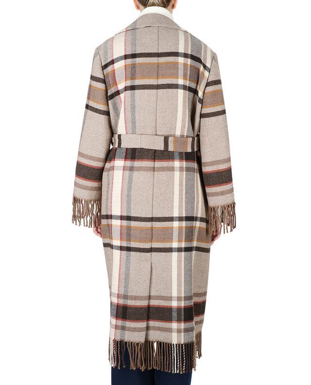 Open fringed wool coat with belt ETRO