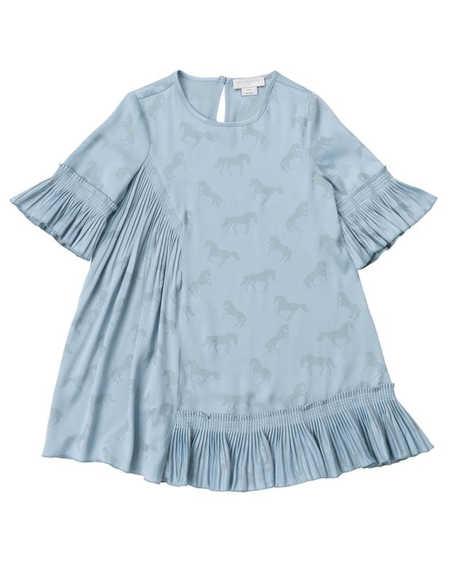 A-förmiges asymmetrisches Kleid mit Motiven Jacquard Horses STELLA MCCARTNEY KIDS
