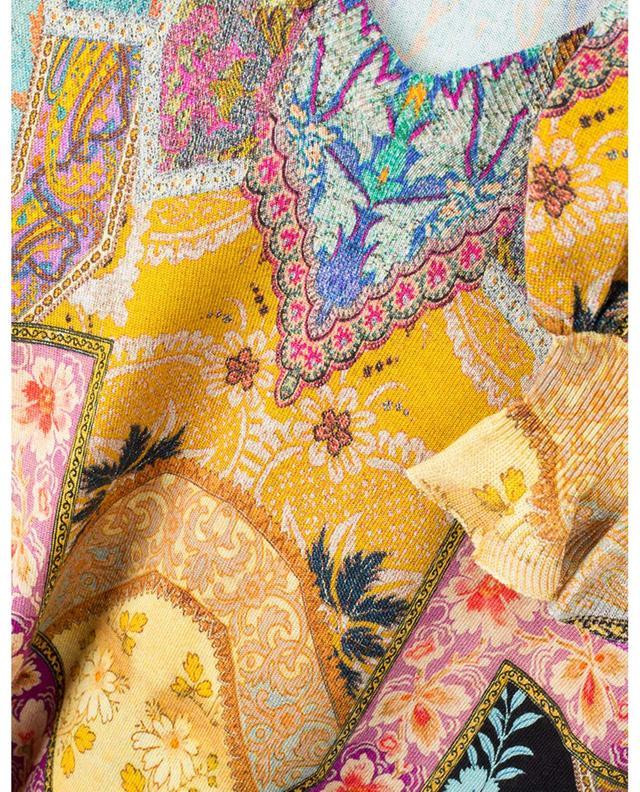 Pull fin à col V et manches bouffantes imprimé patchwork Bhutia ETRO