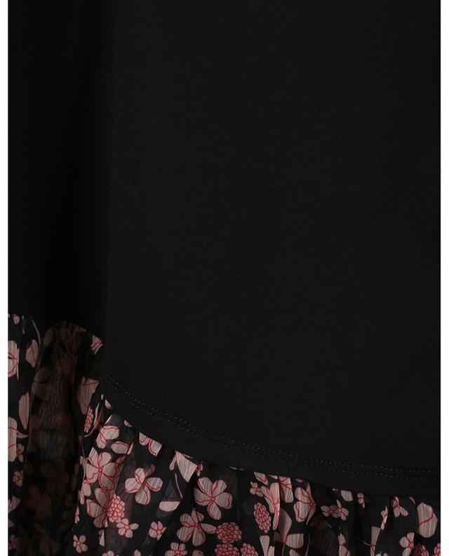 T-shirt boxy en jersey et mousseline fleurie TWINSET