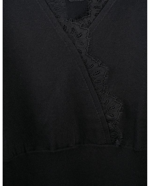 Top en coton et viscose mélangés embelli de dentelle TWINSET