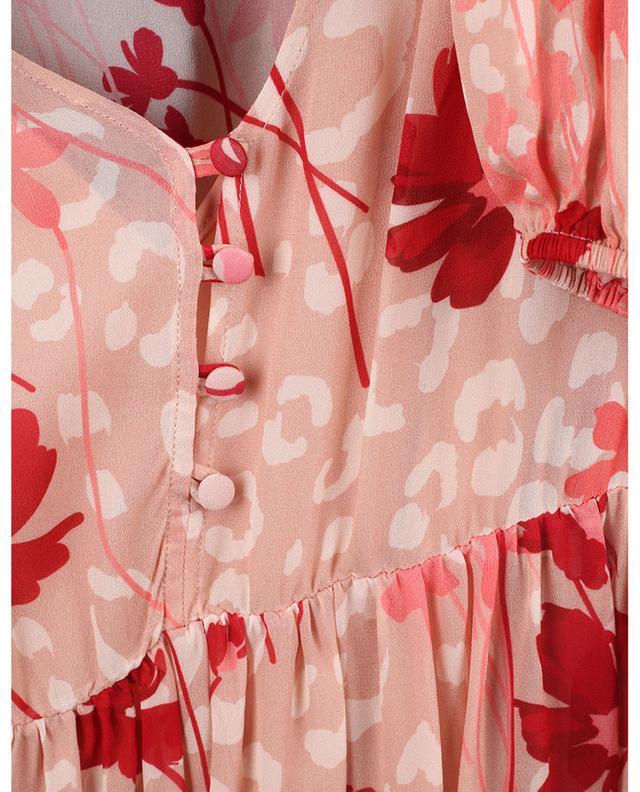 Robe trapèze courte en mousseline fleurie TWINSET