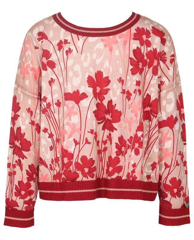 Cardigan boxy léger embelli de lurex et de fleurs TWINSET