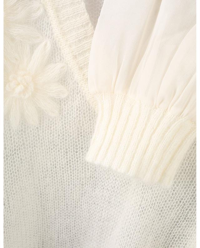 Pull ample aérien bi-matière brodé de fleurs TWINSET