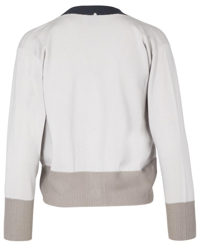 Cardigan tricolore boutonné en laine vierge, soie et cachemire LORENA ANTONIAZZI