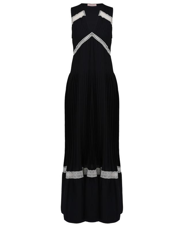 Ärmelloses plissiertes Kleid mit Spitze TWINSET
