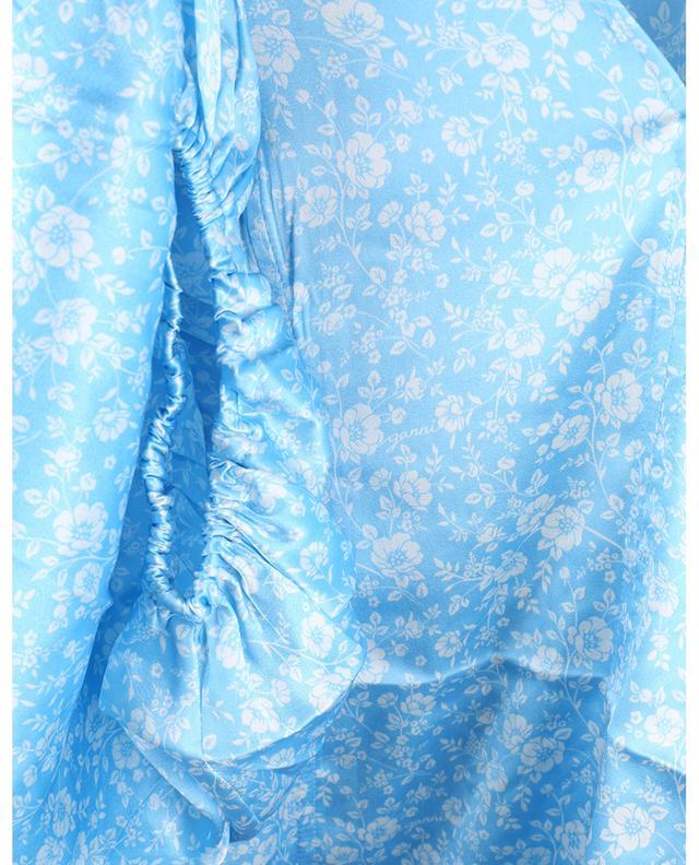 Minirobe trapèze en soie fleurie à manches bouffantes GANNI