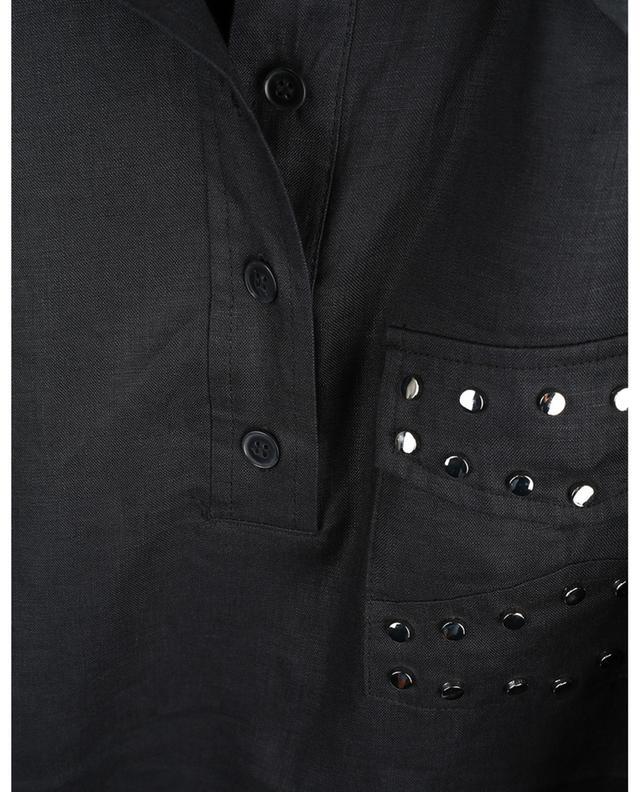 Robe chemise oversize en lin ornée de clous GANNI