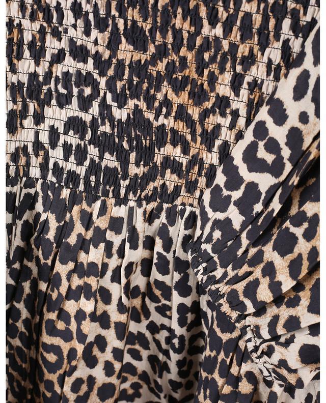 Minirobe smockée imprimée léopard à manches bouffantes GANNI