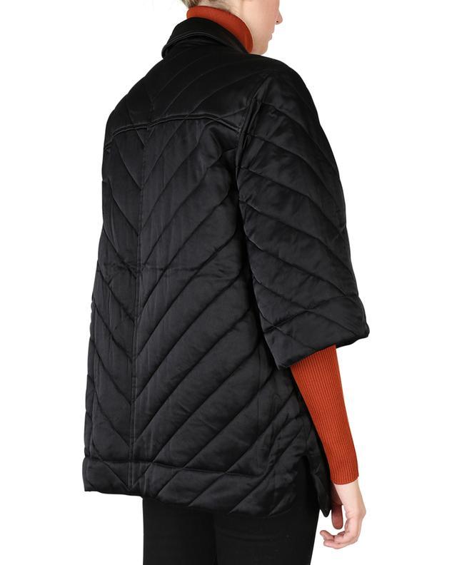 Veste matelassée oversize en satin noir à manches trois-quarts GANNI