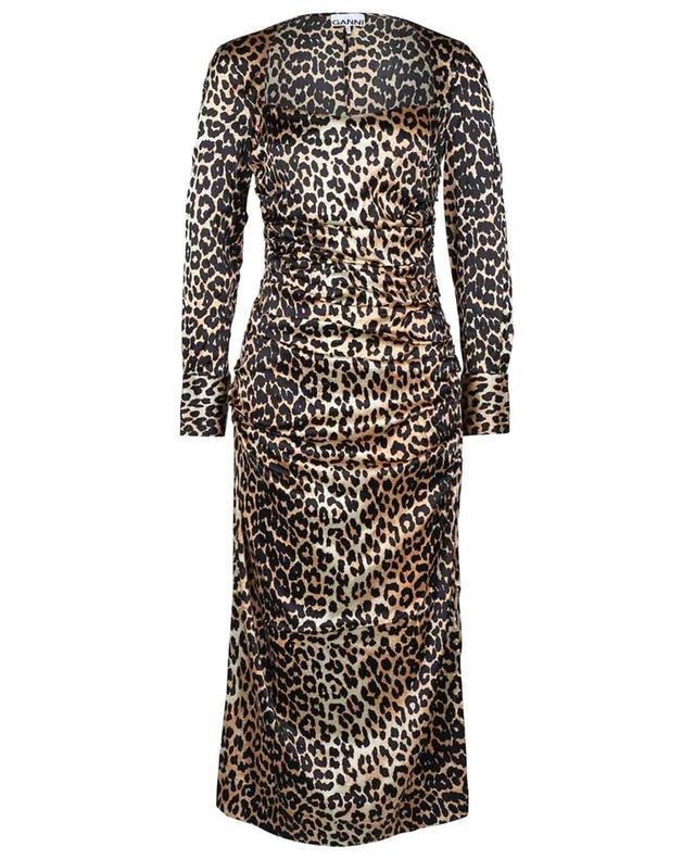Robe midi ajustée a fronces en soie imprimée léopard GANNI