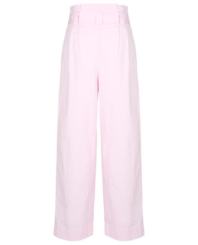 Pantalon large taille haute paperbag en coton Ripstop GANNI