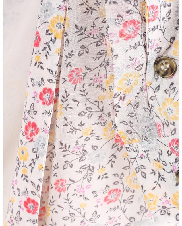 Robe portefeuille midi en georgette fleurie Egret GANNI
