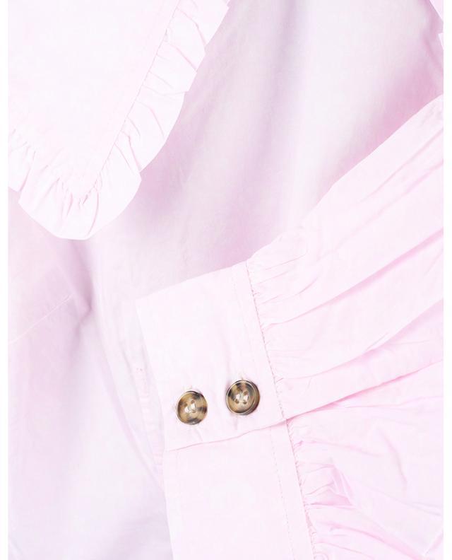 Minirobe trapèze en popeline bio fleurie à manches ballon GANNI