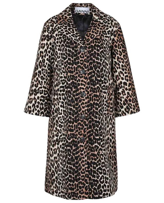 Manteau court léger en lin et coton imprimé léopard GANNI