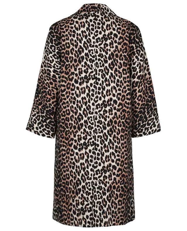 Manteau léger en lin et coton imprimé léopard GANNI