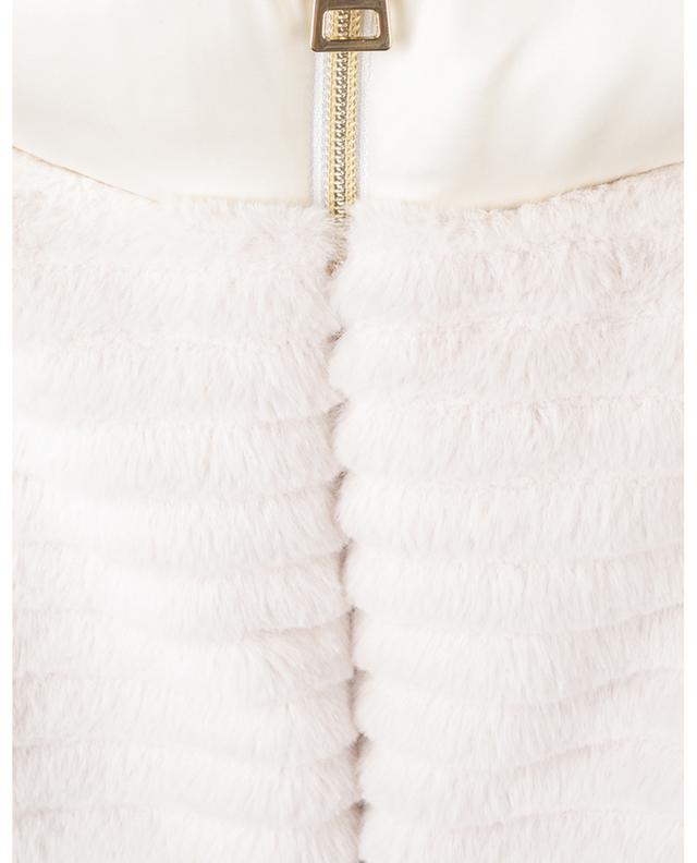 Short hooded down jacket in quilted Cupro and faux fur HERNO