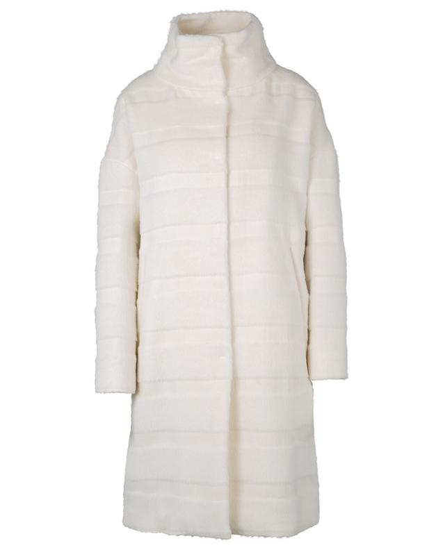 Manteau oversize en laine alpaga rayée à col montant HERNO