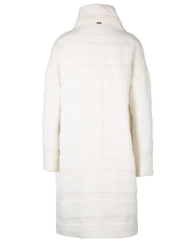 Oversized striped alpaca wool coat with stand-up collar HERNO