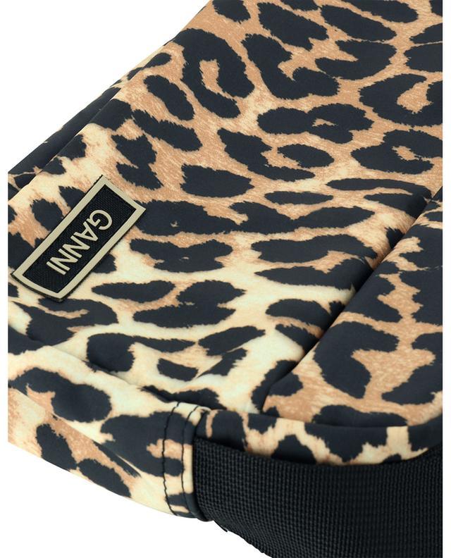 Sac porté épaule en nylon recyclé imprimé léopard GANNI