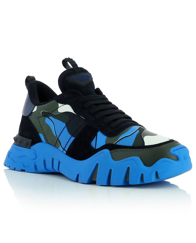 Rockrunner Plus fluo and camo leather sneakers VALENTINO