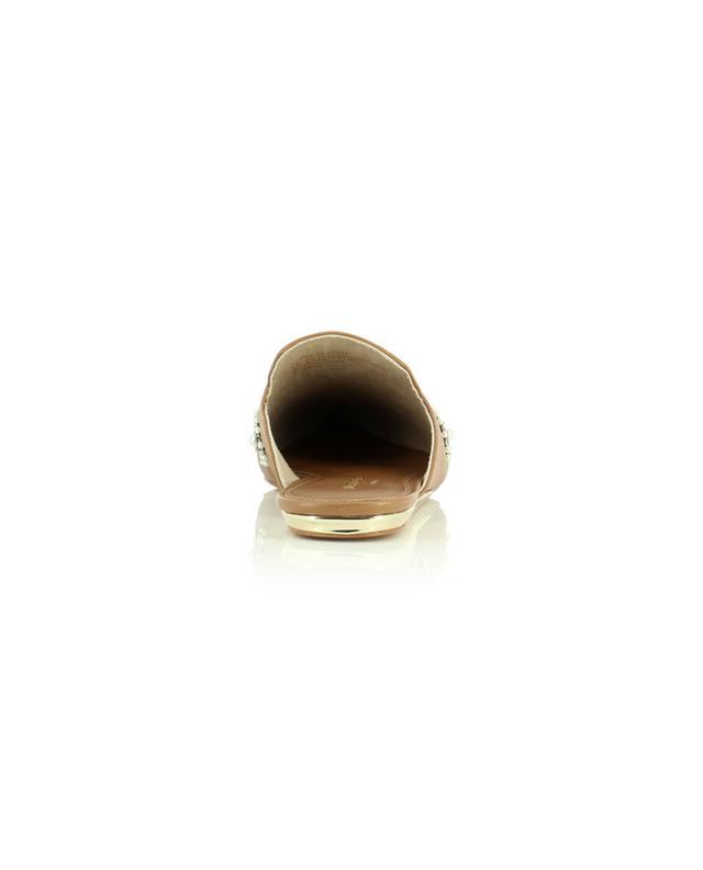 Mules plates en cuir embellies de perles Olive KURT GEIGER LONDON
