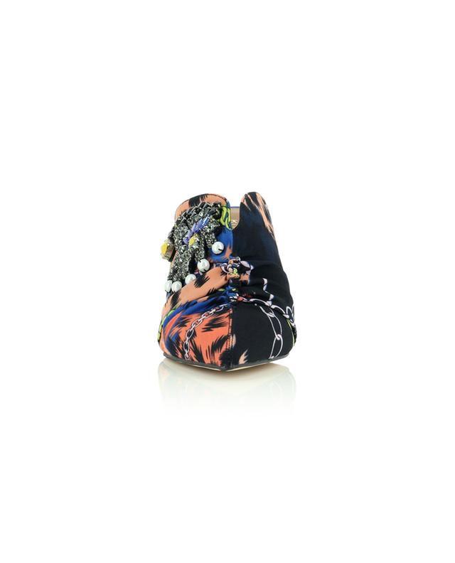 Mules à talon en tissu imprimé foulard avec broche Bella 75 KURT GEIGER LONDON