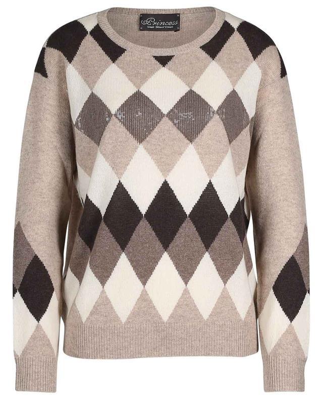 Diamond patterned sequined cashmere jumper PRINCESS