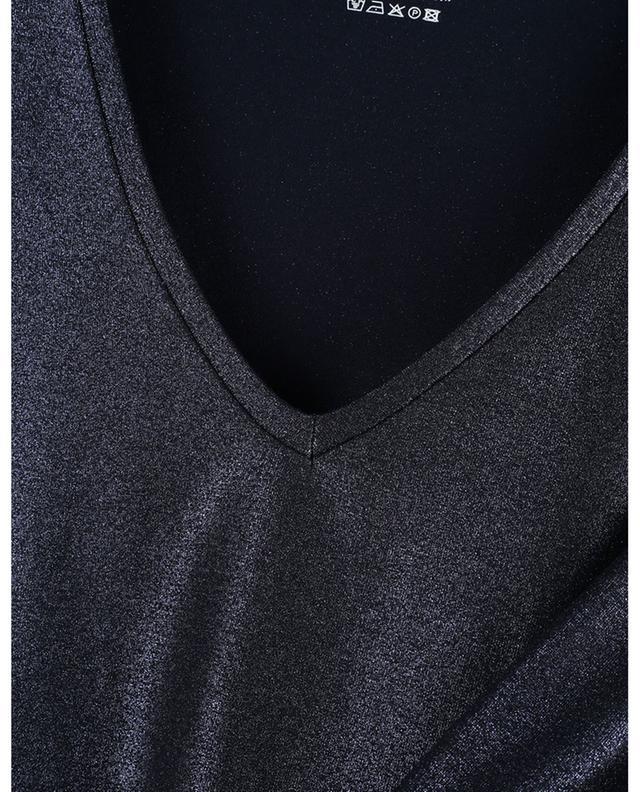 T-shirt ajusté à col V en jersey métallisé Superwashed Soft Touch MAJESTIC FILATURES