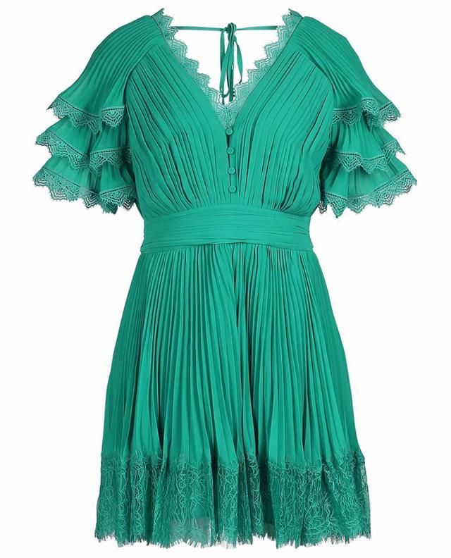 Kurzes plissiertes Kleid mit Spitze SELF PORTRAIT
