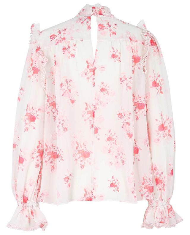 Ruffled pin tucked top in floral chiffon SELF PORTRAIT