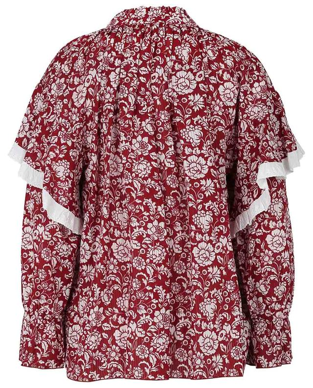 Graphic Peonies ruffled floral cotton blouse SEE BY CHLOE