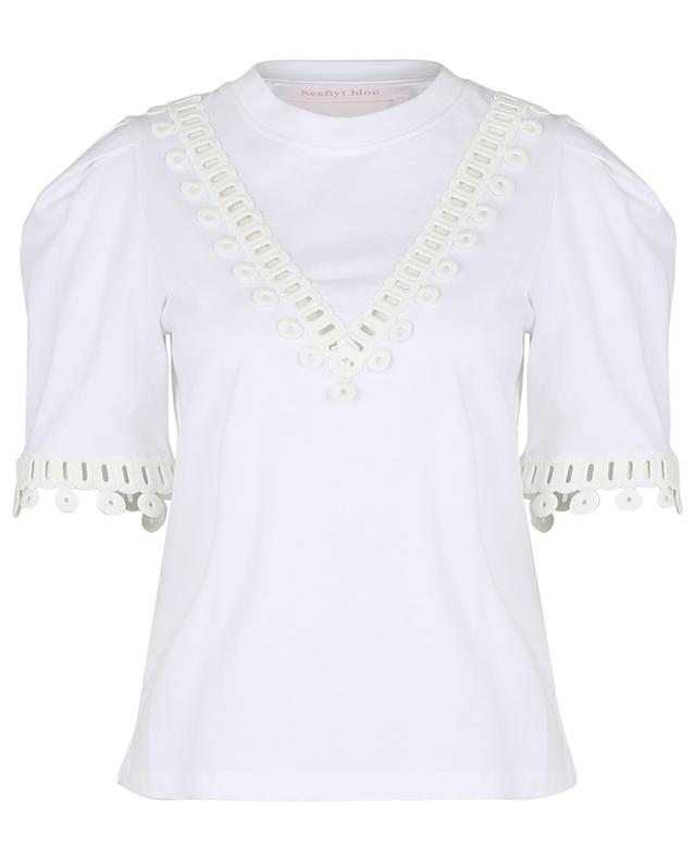 Graphic lace embellished jersey T-shirt SEE BY CHLOE