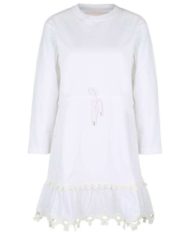 Robe courte en jersey et popeline ornée d'un galon graphique SEE BY CHLOE