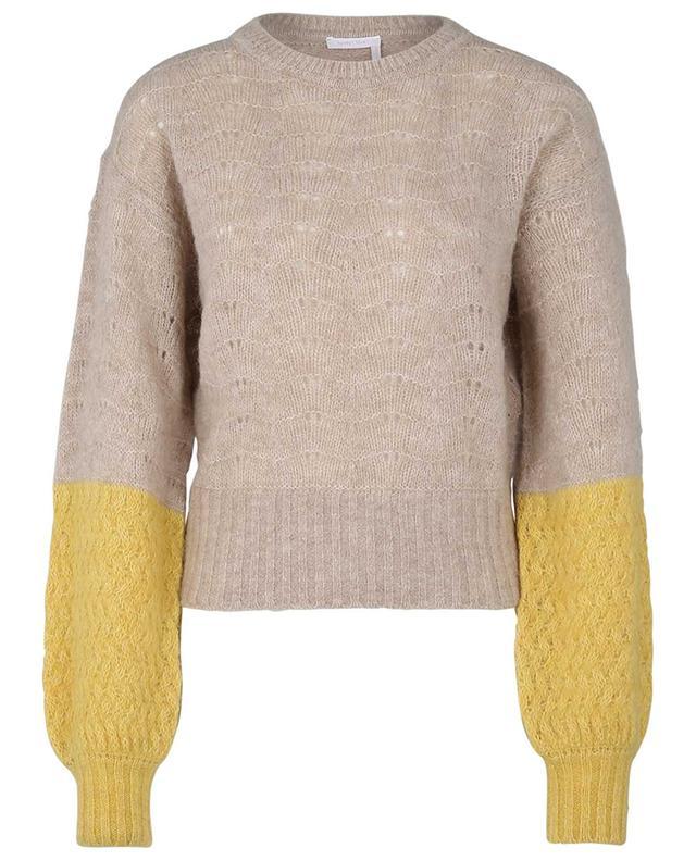 Pull ajouré en laine alpaga à manches ballon SEE BY CHLOE
