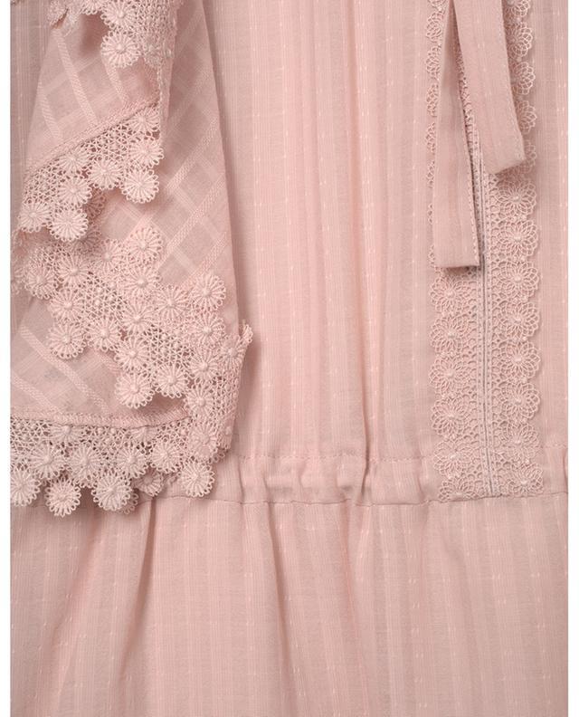 Minikleid aus texturiertem Baumwollvoile mit Blütenspitze SEE BY CHLOE