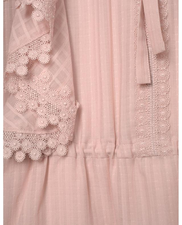 Textured cotton veil mini dress with floral lace embellishments SEE BY CHLOE