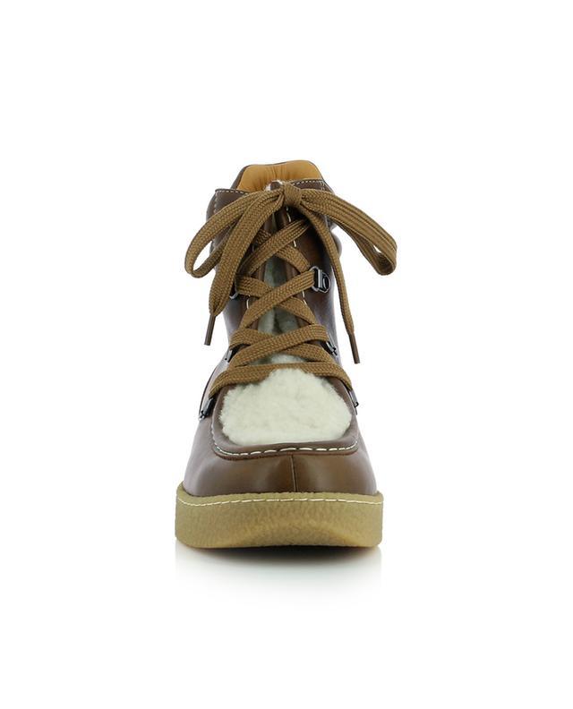 Bottines à lacets esprit randonnée en cuir et peau lainée Alpica ISABEL MARANT