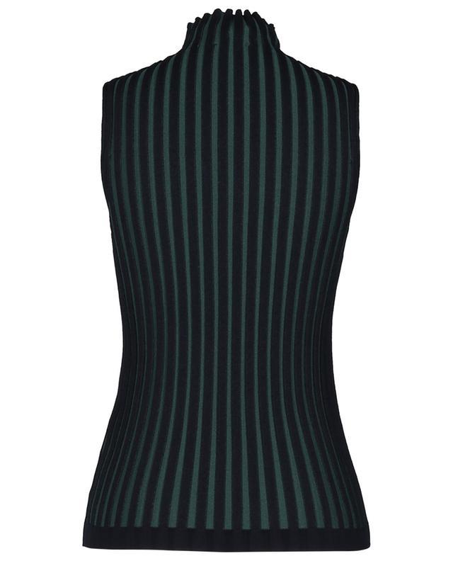 Pleat effect bicolour rib knit tank top KENZO