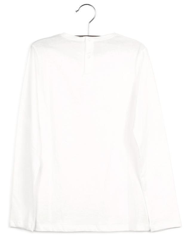 T-shirt à manches longues imprimé fille et brodé fleur IL GUFO