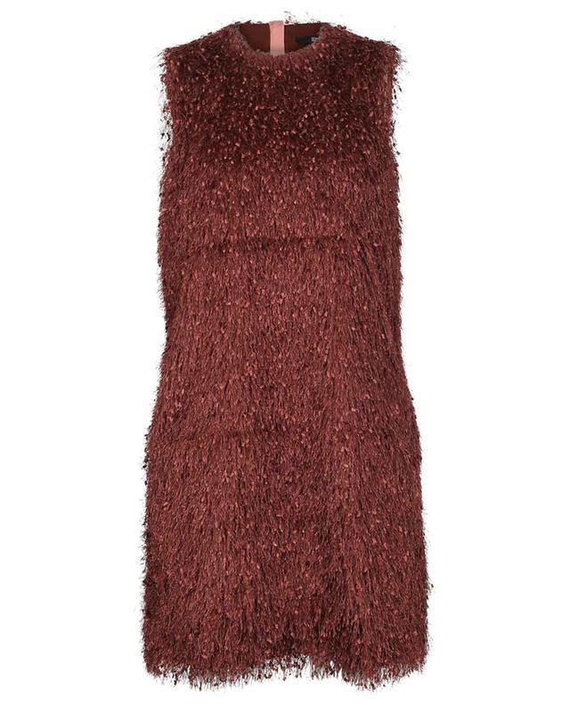 Robe trapèze courte sans manches à franges SLY 010