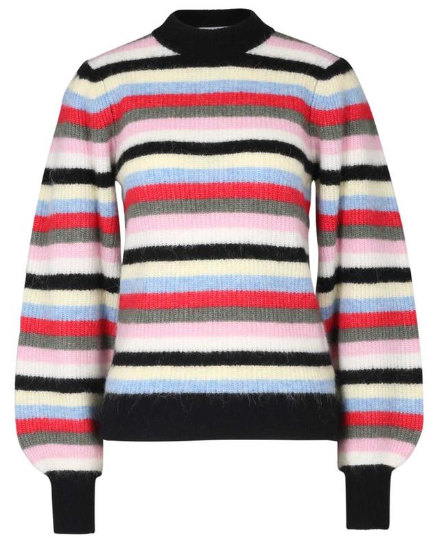 Pull côtelé rayé en laine alpaga et laine mérinos GANNI