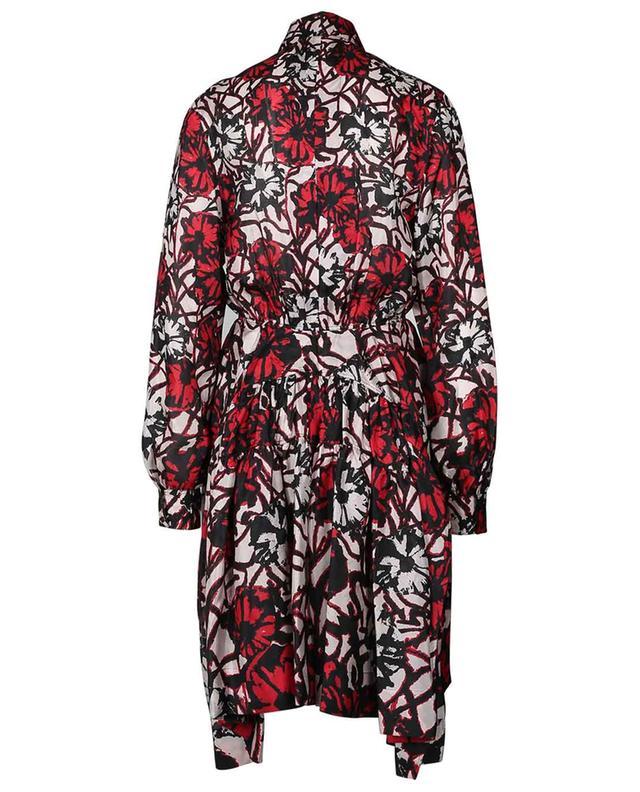 Robe chemise midi en soie fleurie Habutai Daisy ALAIA