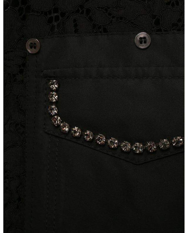 T-shirt décontracté en dentelle embelli de cristaux N°21