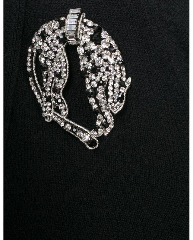 Cardigan à col V en cachemire avec broche en cristaux N°21