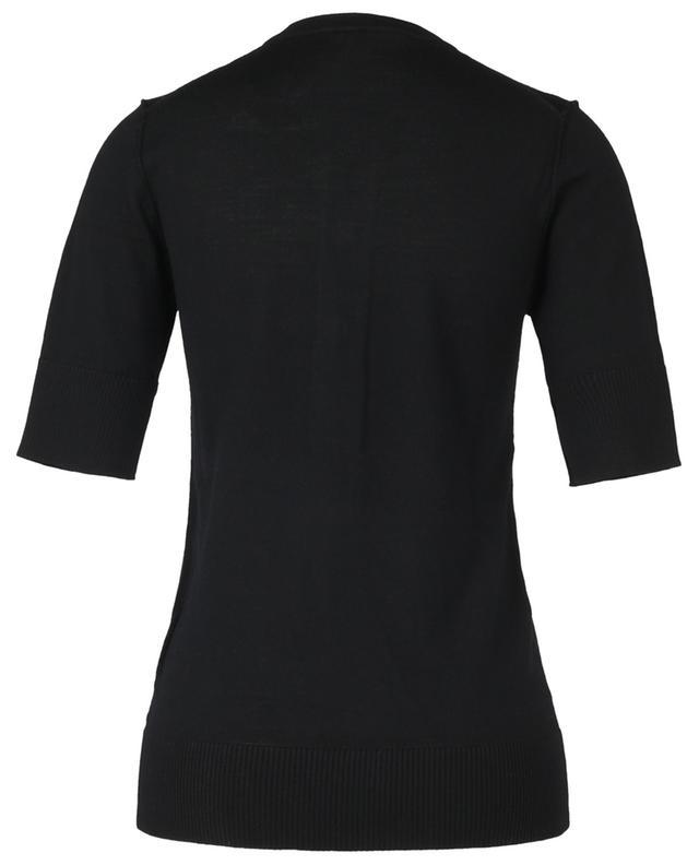 Pull à manches courtes en laine vierge à patch scratch amovible N°21