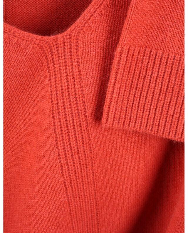 Pull boxy à col V détail côtelé en laine et cachemire HEMISPHERE