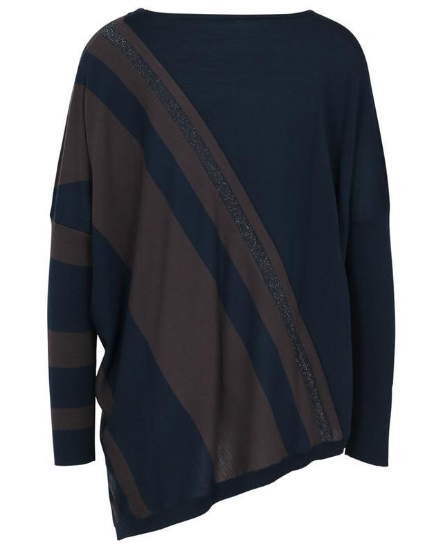 Pull léger oversize embelli de rayures diagonales et lurex HEMISPHERE