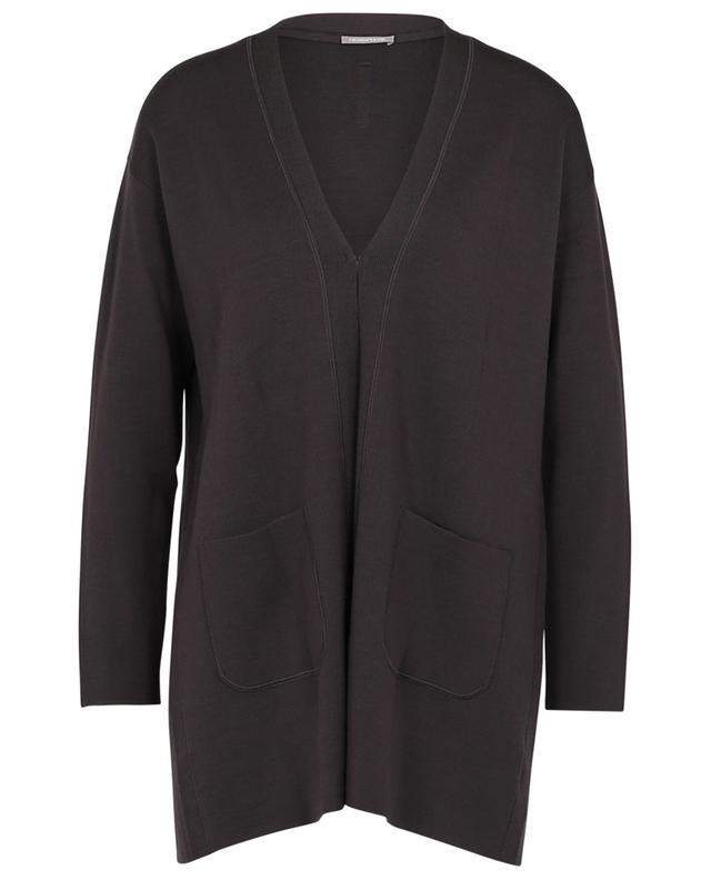Cardigan long à col V et poches plaquées en laine HEMISPHERE